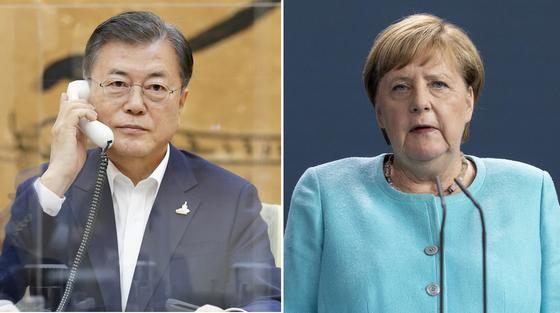 문재인 대통령이 1일 청와대에서 앙겔라 메르켈 독일 총리와 전화 통화하고 있다. 연합뉴스