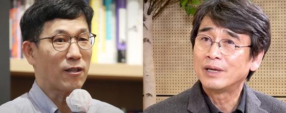 진중권 전 동양대 교수(왼쪽)과 유시민 노무현재단 이사장. 중앙포토