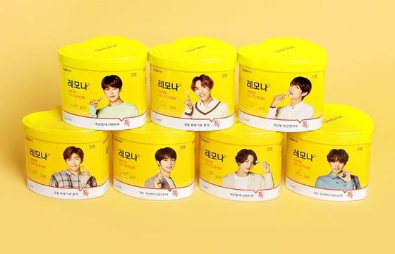 방탄소년단(BTS)의 각 멤버를 제품에 쓴 레모나. 사진 경남제약