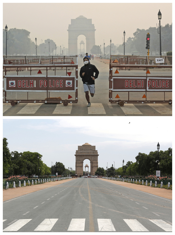 2019년 10월과 2020년 4월 인도 뉴델리의 인디아게이트. 늘 뿌옇던 델리 시내가 올해 코로나19 확산 이후 거짓말처럼 또렷해졌다.(아래 사잔). 바이러스 확산을 막기 위한 봉쇄로 교통, 산업활동이 한꺼번에 줄었기 때문이다. AP=연합뉴스