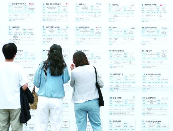 지난 7월 서울 노원구 중계근린공원에서 열린 2020 노원구 일자리박람회에서 시민들이 참여업체 리스트를 확인하고 있다. 우상조 기자