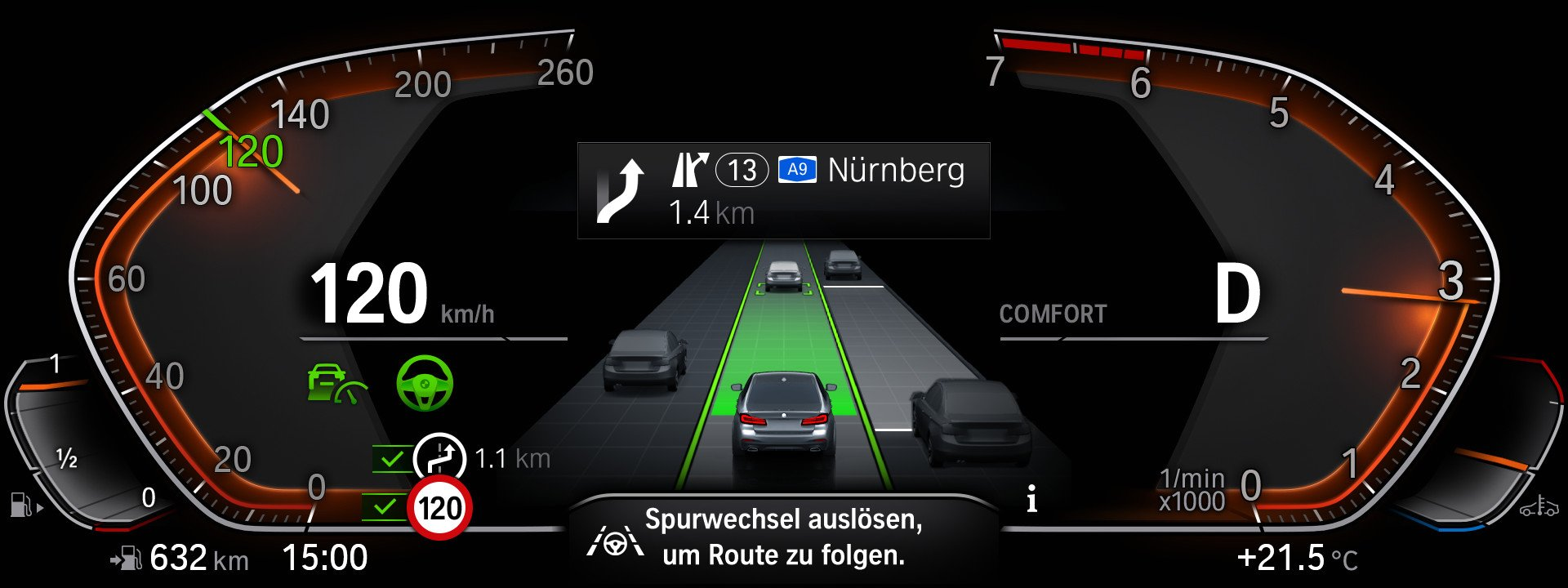 5시리즈 부분변경 모델에는 '드라이빙 어시스턴트 프로페셔널'이라 이름 붙은 반자율주행 기능이 탑재된다. 부분변경 이전 모델과 비교하면 차로유지나 다른 차량 인식이 더 빨라졌다. '드라이빙 어시스트 뷰'라 불리는 그래픽으로 주변 차량 움직임을 보여준다. 사진 BMW그룹코리아