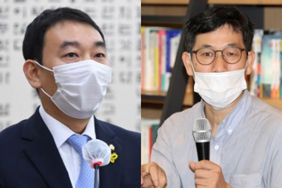 김용민 더불어민주당 의원(왼쪽)과 진중권 전 동양대 교수. [오종택 기자, 뉴시스]