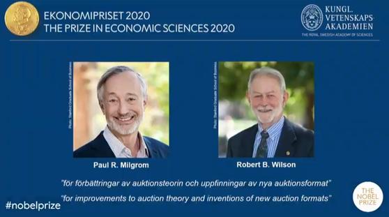 노벨위원회가 12일(현지시간) 발표한 경제학상 수상자. 폴 밀그럼, 로버트 윌슨 스탠퍼드대 교수다.
