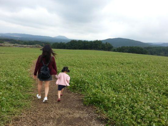 2017년 오라동 메밀밭에서 은지랑 어진이. 둘째 아이는 외향적이고, 위탁가족으로 만난 막내 은지는 수줍음이 많다. 40대 중반에 만난 은지를 통해 나도 육아에 대한 생각이 많이 바뀌었다. [사진 배은희]