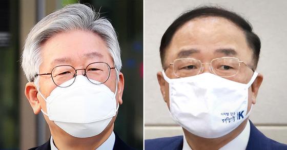 이재명 경기도지사(왼쪽)와 홍남기 경제부총리 겸 기획재정부 장관. 연합뉴스·뉴스1