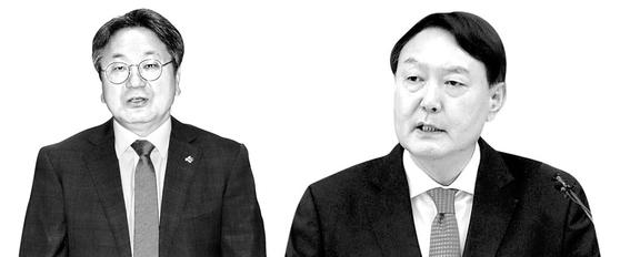 강기정 전 청와대정무수석과 윤석열 검찰총장. 연합뉴스