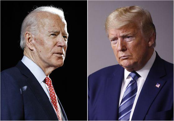 2020년 미국 대선의 민주당 후보자인 조 바이든(왼쪽) 전 부통령과 재선을 노리는 공화당 후보인 도널드 트럼프(오른쪽) 미국 대통령. [AP=연합뉴스]