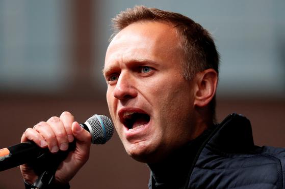 러시아 야권 운동가 알렉세이 나발니가 지난해 9월 러시아 모스크바에서 연설하고 있다. [로이터=연합뉴스]