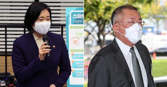 박영선 중기부 장관(왼쪽)과 정의선 현대차 회장. 뉴스1ㆍ뉴시스