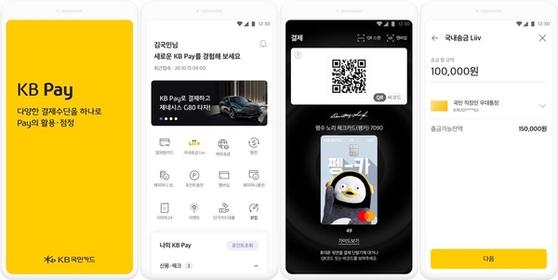 KB페이 접속 화면. 송금과 결제, 환전 등을 하나의 앱에서 처리할 수 있다. KB국민카드제공