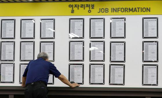 지난 6월 10일 서울 마포구 서부고용복지플러스센터에서 시민이 일자리정보게시판을 살펴보고 있다. 뉴스1