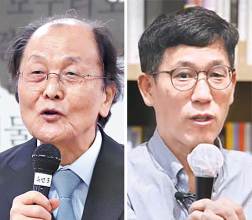 조정래(左), 진중권(右)