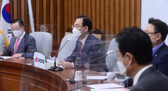 주호영 국민의힘 원내대표가 16일 국회에서 열린 원내대표단회의에서 발언하고 있다.  연합뉴스