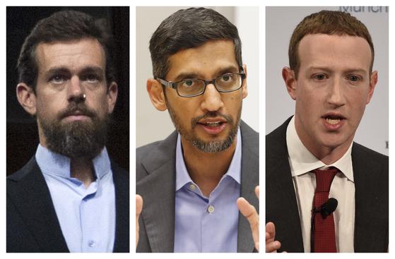 트위터의 잭 도시(왼쪽부터), 구글의 순다르 피차이, 페이스북의 마크 저커버그 CEO. [AP=연합뉴스]