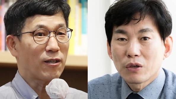 진중권 전 동양대 교수(왼쪽)와 박진영 민주당 상근부대변인. 중앙포토, 페이스북 캡처