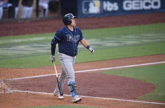한국인 최초로 ALCS에서 홈런을 때린 최지만. [USA투데이=연합뉴스]