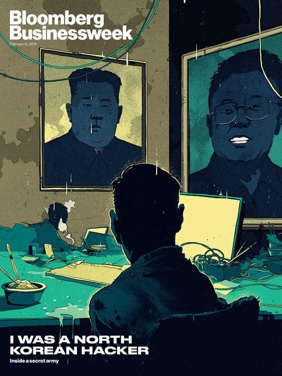 김정일·김정은 부자의 그림을 앞에 두고 열악한 생활을 하는 북한 해커들을 묘사한 그래픽. [블룸버그 비즈니스위크]