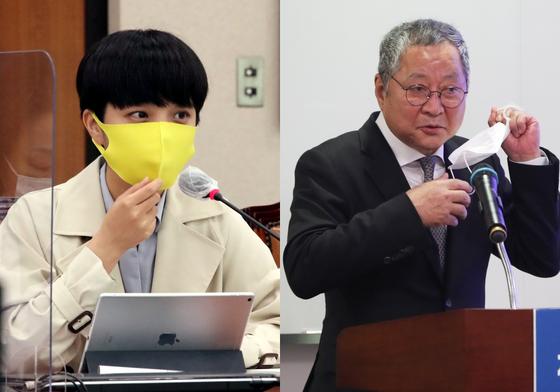 류호정 정의당 의원, 최창희 공영홈쇼핑 대표. 오종택 기자, 뉴스1