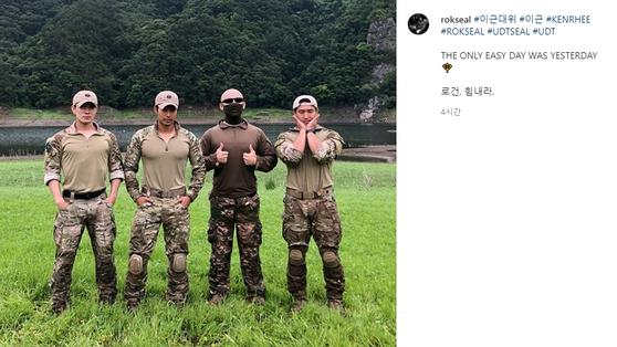 왼쪽부터 '가짜 사나이' 출연자 에이전트H, 이근, 김계란, 로건. [이씨 SNS 캡처]