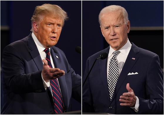 도널드 트럼프 미국 대통령과 민주당 대선 후보 조 바이든 전 부통령. 미 여론조사 기관들은 2016년 실패를 반복하지 않기 위해 응답자 학력에 대한 가중치를 도입하는 등 여론조사 방식을 보완했다. [AP=연합뉴스]