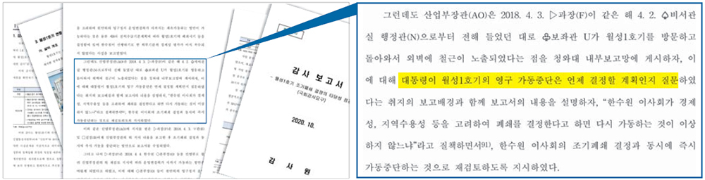 20일 공개된 월성 1호기 조기폐쇄 결정 감사보고서. 문재인 대통령이 해당 원전의 영구 가동중단은 언제 결정할 계획인지 질문했다는 내용이 담겼다.