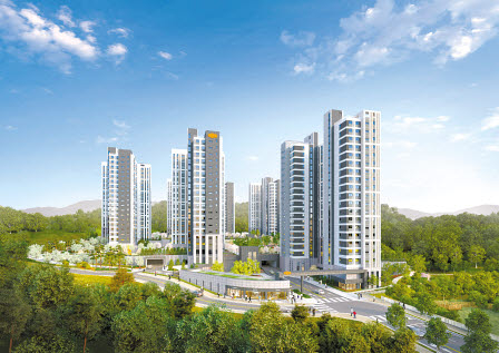 공공분양주택이어서 저렴하고 공기청정시스템을 갖춰 쾌적한 e편한세상 남양뉴타운 투시도.