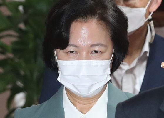 추미애 법무부장관이 지난 20일 오전 서울 종로구 정부서울청사에서 화상으로 열린 국무회의에 참석하고 있다. 뉴스1