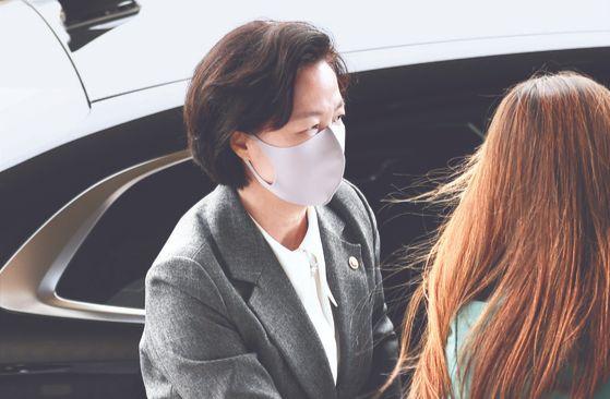 추미애 법무부 장관이 지난 20일 열린 국무회의에 참석하고 있다. [연합뉴스]