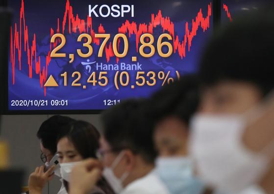 21일 오후 서울 중구 하나은행 명동점 딜링룸 전광판에 코스피 지수가 전날보다 12.45(0.53%) 포인트 오른 2370.86을 나타내고 있다. 뉴스1