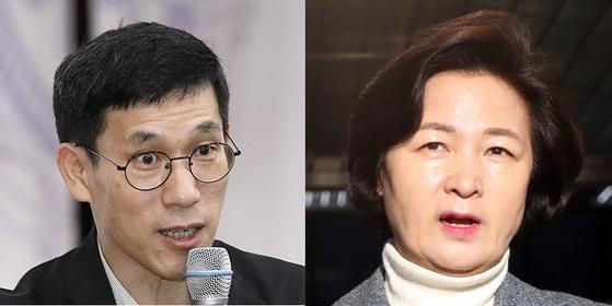 진중권 전 동양대 교수(왼쪽)와 추미애 법무부 장관. 뉴스1·연합뉴스