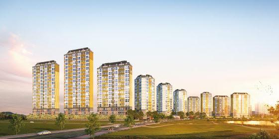 광주전남혁신도시에 2020년 9월 입주에 들어간 대단지 아파트 '이노시티 애시앙' 투시도.