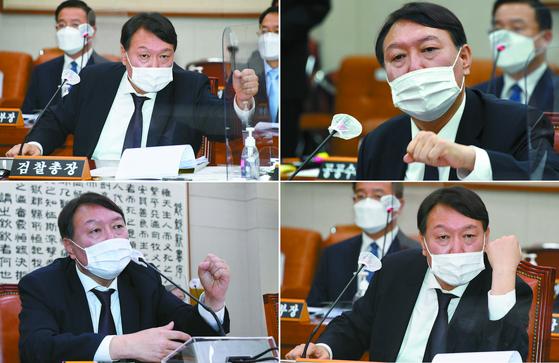 윤석열 검찰총장이 22일 국회에서 열린 법제사법위원회 대검찰청 국정감사에서 의원들과 질의응답을 하고 있다. 뉴스1