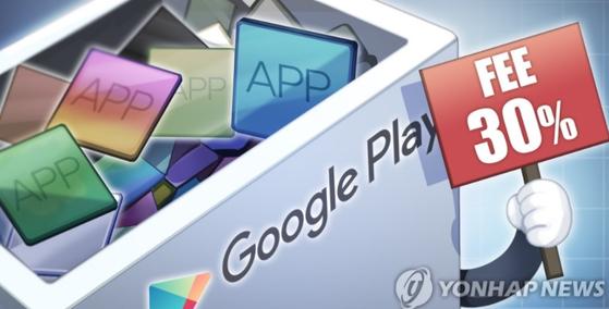 구글이 자사 내 앱과 콘텐트 결제 금액에 수수료 30%를 책정했다.
