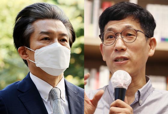 조국 전 법무부장관(왼쪽)과 진중권 전 동양대 교수. 연합뉴스·뉴스1