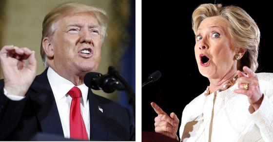 도널드 트럼프 미국 대통령(왼쪽)과 힐러리 클린턴 전 국무장관.[AP=연합뉴스]