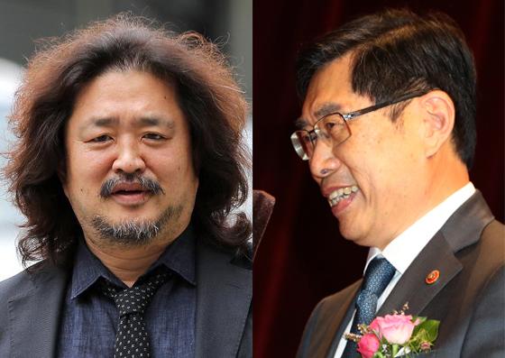 TBS라디오 '김어준의 뉴스공장' 진행자 김어준(왼쪽)과 박상기 전 법무부 장관. 뉴스1