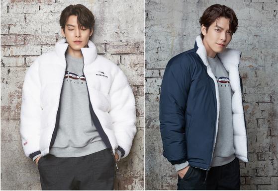 배우 김우빈이 입은 '리브(REVE) 리버시블 플리스 다운'은 플리스와 다운 재킷이 양면에 디자인돼 두 가지 스타일을 연출할 수 있다. [사진 아이더]