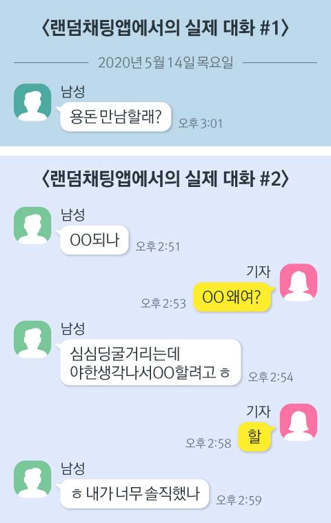 랜덤채팅 앱에서의 실제 대화. 그래픽=김현서 kim.hyeonseo12@joongang.co.kr