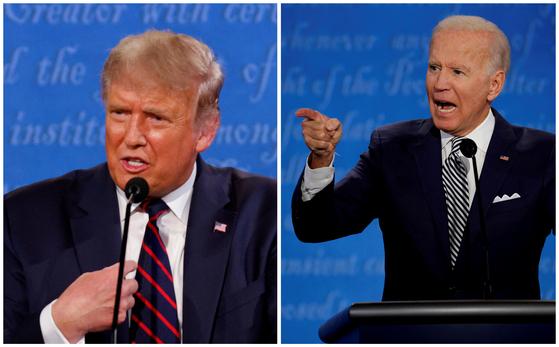 미국 대선 후보로 뛰고 있는 공화당 후보 도널드 트럼프 대통령(왼쪽)과 민주당 후보 조 바이든 전 부통령. 로이터=연합뉴스