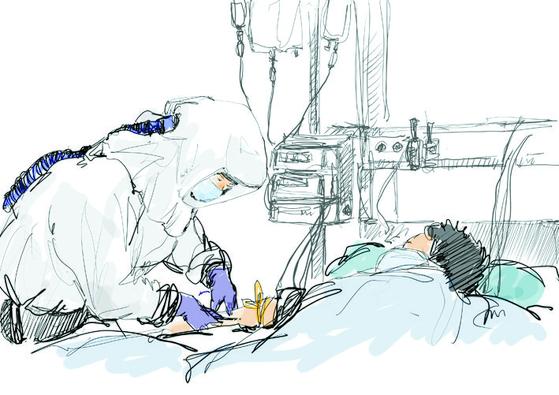 오영준 간호사가 그린 코로나19 병상 의료진 그림. [오영준 간호사 제공]