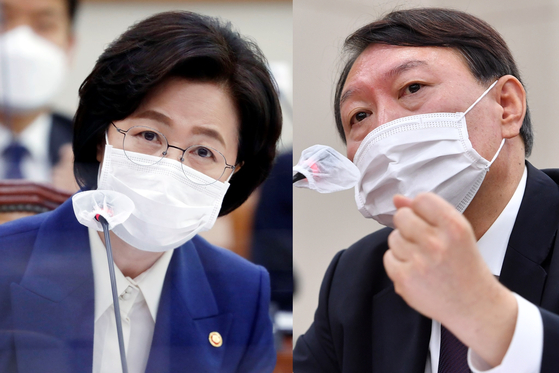추미애 법무부 장관(왼쪽)과 윤석열 검찰총장. [국회사진기자단]