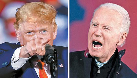 도널드 트럼프 미국 대통령(왼쪽)과 조 바이든 민주당 후보(오른쪽). [EPA·AFP=연합뉴스]