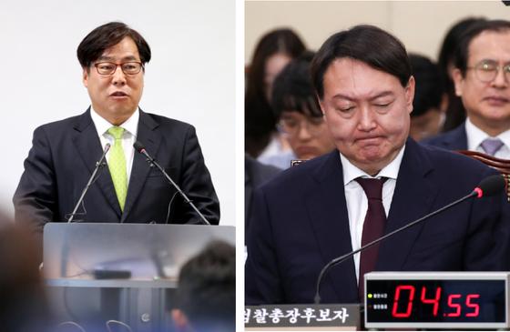 윤대진 사법연수원 부원장(왼쪽)의 모습. 오른쪽은 지난해 인사청문회 당시 윤석열 검찰총장. 임현동 기자