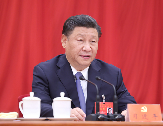 29일 폐막한 중국 공산당 5중전회에 참석 중인 시진핑 중국 국가주석.[신화=연합뉴스]