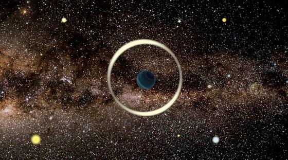 . 미시중력렌즈 방법으로 발견한 나홀로 행성의 상상도. [사진 바르샤바천문대]