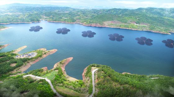 안동 임하댐에 조성할 예정인 국내 최대규모의 수상태양광 발전단지 조감도 [사진 경북도]