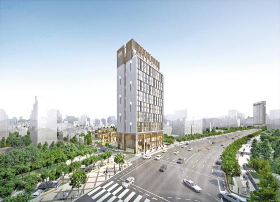 서울 강남구 논현동에 공급 중인 펜트힐 캐스케이드 상업시설 투시도. 모객 효과가 뛰어난 복합 테마몰이다.