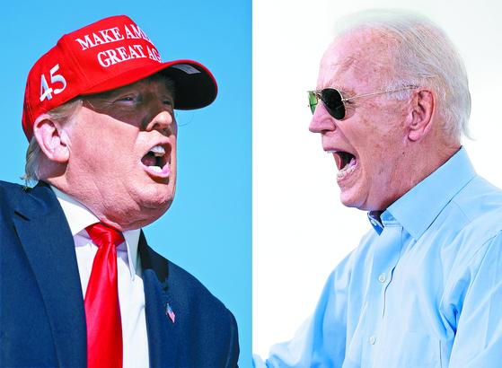 10월 29일 공화당의 도널드 트럼프 대통령(왼쪽 사진)은 애리조나주에서 대중 유세를 벌이고 있고, 민주당의 조 바이든 후보(오른쪽 사진)는 플로리다주에서 드라이브스루 유세에 나서고 있다. AP ·AFP=연합뉴스