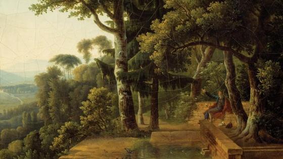 알렉상드르 뒤누이가 1770년 리옹 근처의 로슈코르동 공원에서 사색하는 루소의 모습을 그렸다. [사진 위키미디어]